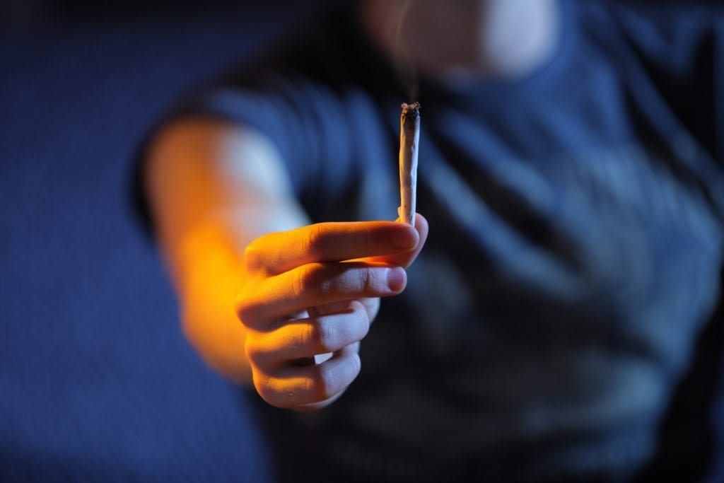 person holding a joint