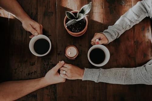 love couple coffee and hand together